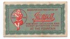 1910 Ticket for a Free Drink of Ironport Soda with nice Graphics