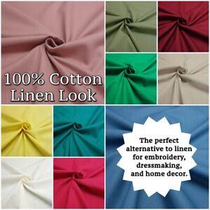 100% Cotton Plain LINEN LOOK Slubbed Cool Summer Dressmaking Craft Fabric