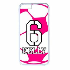 Girl Pink Soccer Personalized Number & Name For iPhone X 8 7 6 Plus 5 SE 4 Case