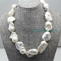 """Rare HUGE long 23"""" 35mm white baroque keshi reborn genuine PEARL lady's NECKLACE"""