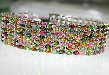 252 TCW -Natural-Multi-color-tourmaline-Engagement-Bracelet-estate-vintage-SALE