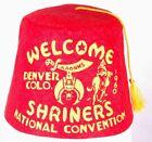 Vtg Shriners Fez Hat-Tassel-Red-Size 6-AAONMS-National Convention 1960-Denver CO