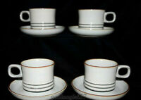 Denby Fjord * 4 SETS CUPS & SAUCERS * Gray, Brown, Mossy Green, EXC!