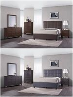 5Pc Wood Bedroom Set, Queen Size Bed + Night Stand + Mirror + Dresser + Chest