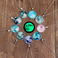 Women full moon rising moon Pendant Necklace glow in the dark Luminous Chain