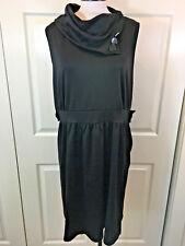 MONTEAU Women's 2X/3X Plus Black Sleeveless Stretch-Polyester+ Sheath-Dress NWOT