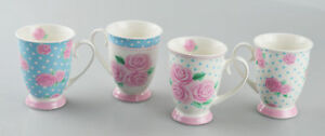 New Bone China Mugs Set of 4 Afternoon Tea Style Coffee Home Kitchen Office Cups