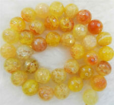 """Wholesale 6mm Faceted Yellow Dragon Veins Agate Round Gemstones Loose Beads 15"""""""