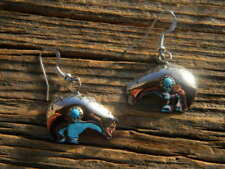 blue turquoise french wire earrings Sterling silver ladies bear with