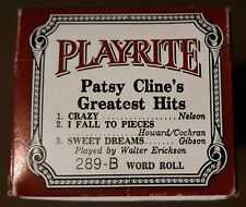 289-B Patsy Cline's Greatest Hits Crazy Play-Rite 88 Note Player Piano Word Roll
