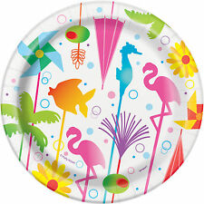 8 X Été Cocktail Papier Assiette Plage Hawaïenne Hula Tropical 18cm Buffet