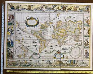 Old Antique Tudor World Picture map: Blaeu: 1606, 1600's: vignette, Reprint