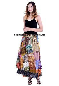 2 Layer Silk Sari Magic Wrap Around Skirts Dress Beach Wear Sarong Indian Silk