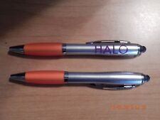 HALO PURELY FOR PETS BRAND NAME PENS SET OF 2 WITH STYLUS ORANGE SILVER PURPLE