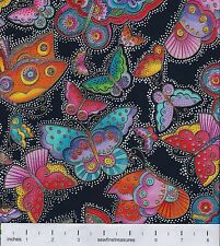 Flying Colors II Laurel Burch LARGE Butterfly GLOW BLACK Fabric By the FQ 1/4 YD