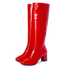 Womens Patent Leather Knee High Boots Chunky High Heel Casual Shoes Fashion Warm
