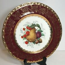 """Vtg Royal Falconware Weatherby Hanley England Plate 10.8"""" Red Gold Pear Fruit"""