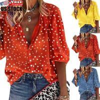 Plus Size Women's Summer V Neck Polka Dot Tops Shirt Ladies Casual Loose Blouse