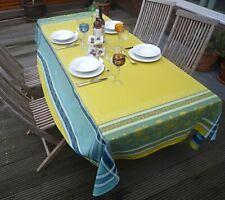 Tablecloth Jacquard Cotton Green Blue 160x250 CM France With Teflonschutz