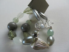 2 ROW STRETCH AQUA GREEN SILVER CLEAR RANDOM SHAPE BEAD BRACELET new gift pouch