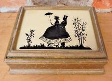 Vintage Wood Box Silhouette Reverse Painted Glass Lid Gilded Gold Art Deco