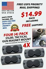 Four (4) Pack Tactical Gun Magnet Mounts / Conceal Firearm Secure / Strong / Pro