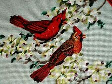 VINTAGE 3 Bird Red Cardinal Blooming Tree Flowers NEEDLEPOINT Crewel CANVAS WOOL