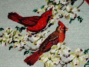 SUPERB 3 Birds Red Cardinal Blooming Tree Flower ART NEEDLEPOINT Old Crewel WOOL