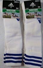 Lot Of 2 Pair Adidas Climalite Soccer Socks White & Blue Size Medium