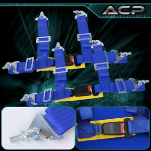 """2 X Universal Pair 2"""" Blue 4 Point Buckle Racing Seat Belt Harness Latch Link"""