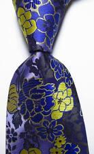 New Classic Floral Purple Yellow Black JACQUARD WOVEN Silk Men's Tie Necktie
