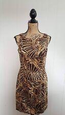 Jones New York Womens Dress 10 Petite 10P Brown Leaf Sleeveless Beaded Sheath