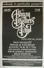 Allman Brothers Red Rocks Denver 1998 Concert Poster