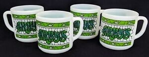 SET of (4) Vintage ARBY'S Green and White Glass Mugs Cups - Federal Glass