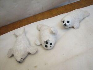 3 Vintage Kurman Wood Feather Carved Harp Seal Pup Figurines Carving