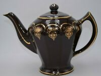 Hall 0227 6 Cup Brown Teapot with Gold Made in the USA