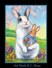 Rabbit Bunny Stuffed Toy Spring Flowers ACEO Limited Edition miniature Art Print