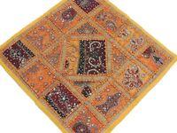 Yellow Sari Lounge Pillow Floor Sitting Kundan Colorful Handicraft Cushion 26in