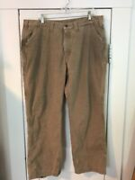 Carhartt Flannel Lined Insulated Tan Cotton Canvas Carpenter Work Pants 40 X 30