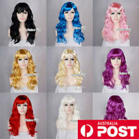 60CM Long Purple/Pink/Red/Black/Blue Curly Fancy Dress Costume Cosplay Party Wig