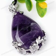 1x Natural REIKI Point Chakra Amethyst Teardrop Pendant Bead For Necklace