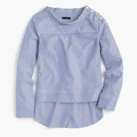 NWT J.CREW Funnelneck Striped Shirt COBALT CLASSIC STRIPE G9944 SZ 0 XS * blue