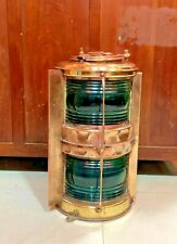 vintage nautical marine ship brass electric japanes green glass light 1 pices