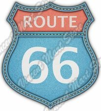"US Route 66 Highway Road Denim Blue Jeans Car Bumper Vinyl Sticker Decal 4""X5"""