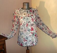 Per Una M&S Ivory Pink Green FLORAL 2 layer ruffle BLOUSE TOP 18 UK bnwt £32