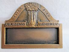 Antique CELERY CITY Ribbon Badge MEDAL Kalamazoo Michigan Whitehead Hoag