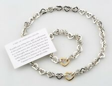 Tiffany & Co. Sterling Silver & 18k Yellow Gold Heart Chain Bracelet & Necklace