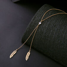 Lady Jewelry Boho Leaf Feather Tassel Long Chain Retro Gold Pendant Necklace