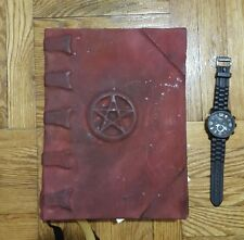 RARE Book of Shadows Pentacle Leather bound tome occult wicca witch
