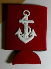 WHITE ANCHOR EMBROI SHIP BOAT STRAIGHT HOLDER RED Warmer Cooler Insulator KOOZIE
